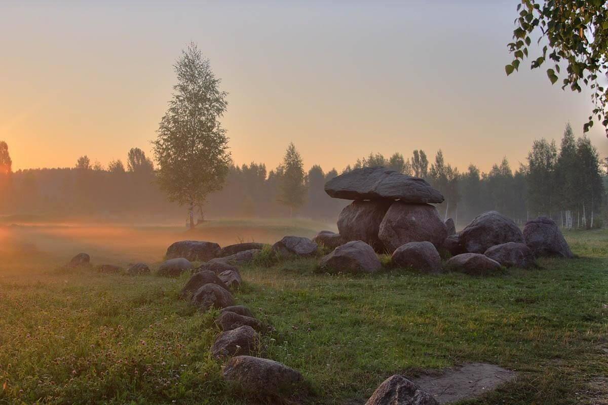 Stones museum in Minsk on sunset