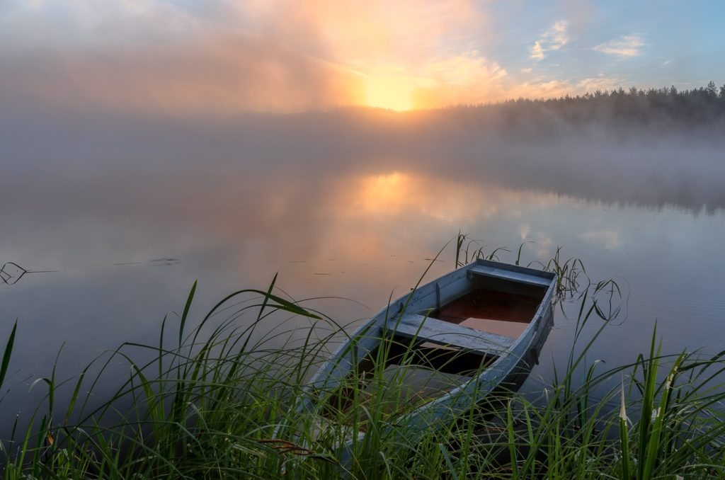 Nature Of Belarus. Boat in Lake