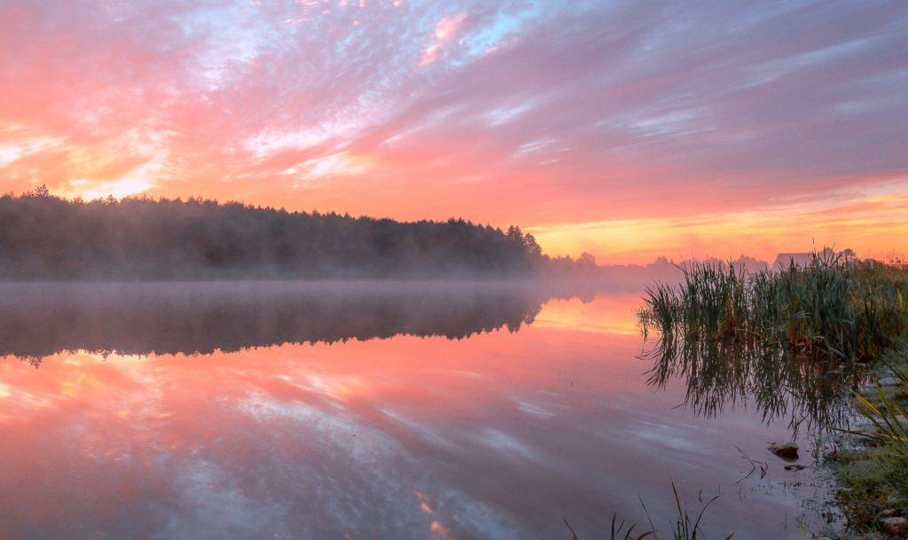 Розовый закат на озере