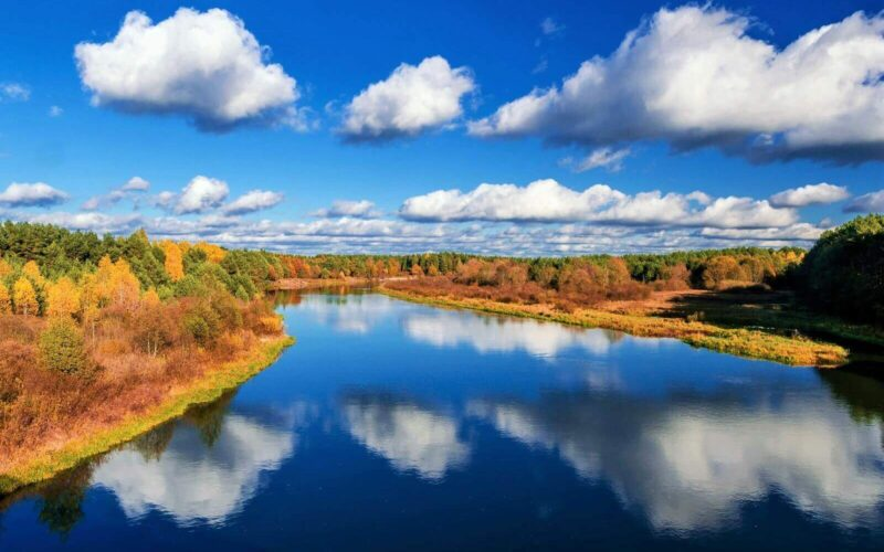 Nature of Belarus. Blue river.