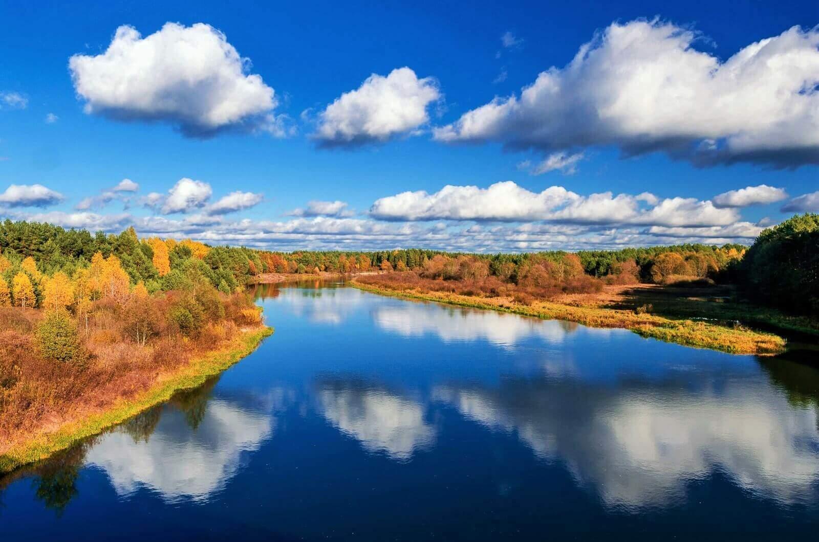 Nature of Belarus. Blue river.
