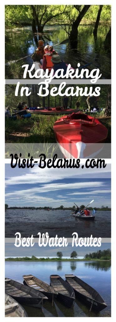 Kayaking through rivers of Belarus, water routes collage