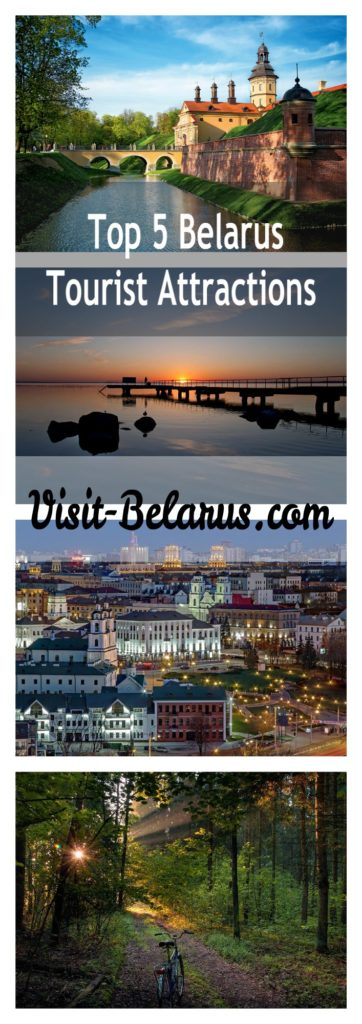Top 5 Belarus tourist attractions in 4 pictures collage