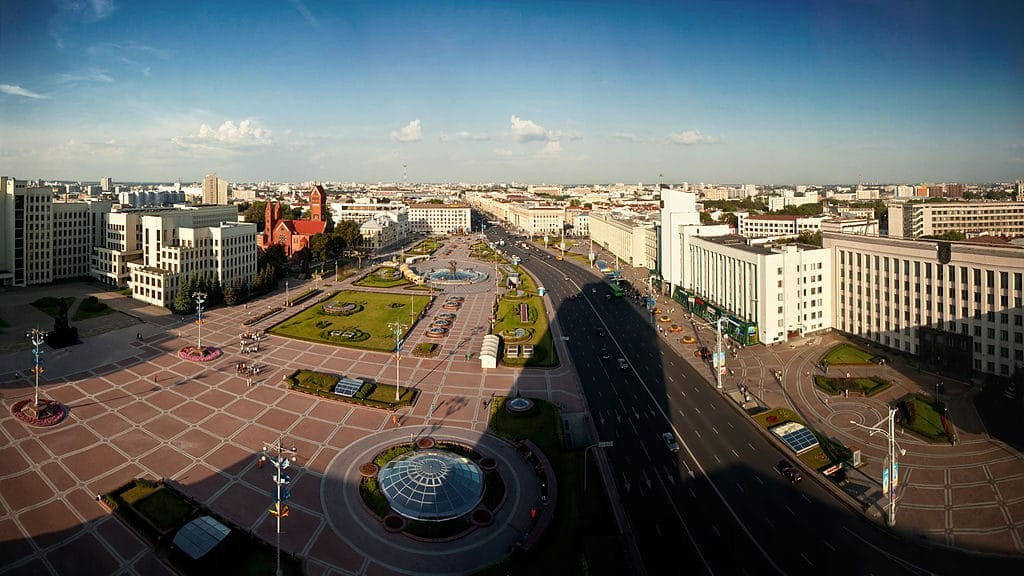Independence square and avenue in Minsk