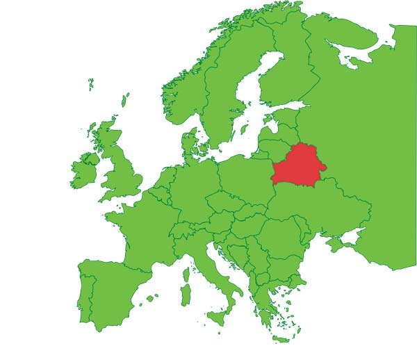 Map of Europe and Belarus