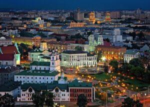 Минск сверху ночью