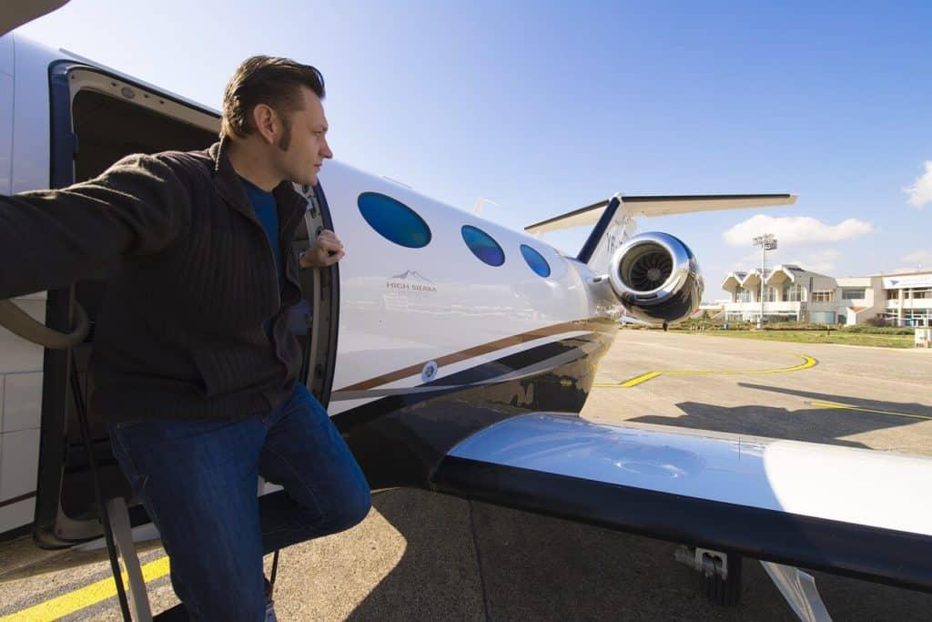 Luxury traveler on private jet