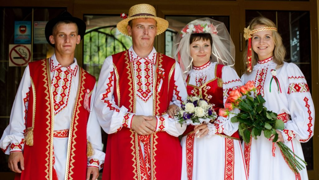 People in traditional clothes, folk festivals in Belarus