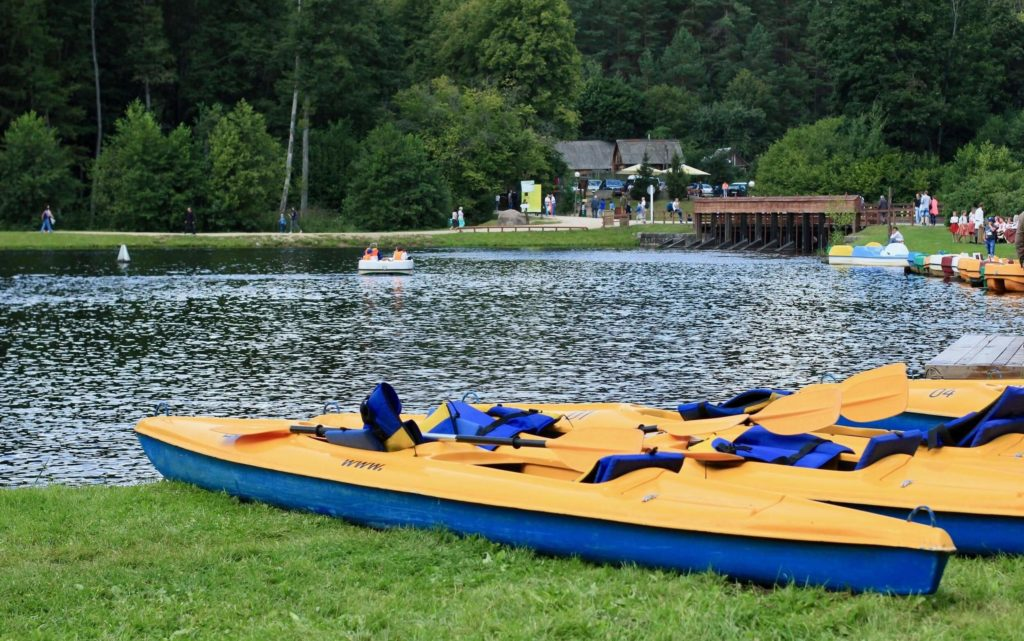 Kayaks on the shore of Augustow canal