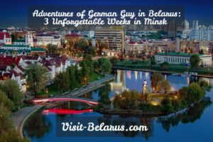 Adventures of German guy in Minsk, Belarus, panorama of the city in the morning