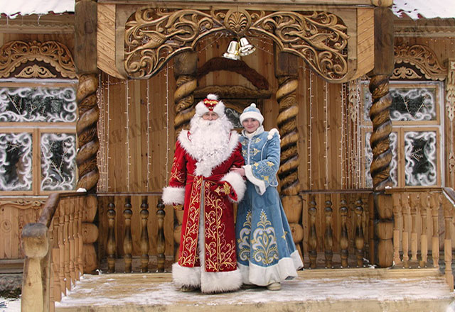 bialowieza forest in brest, father frost during New Year