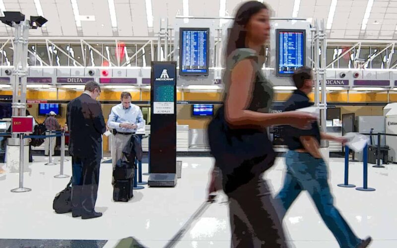 Foreign travelers in the airport in Belarus