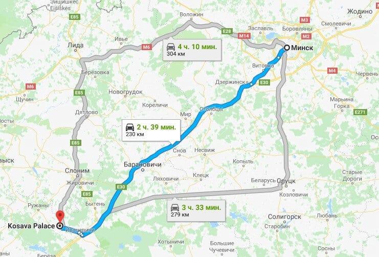Карта как добраться до Дворца Пусловских из Минска