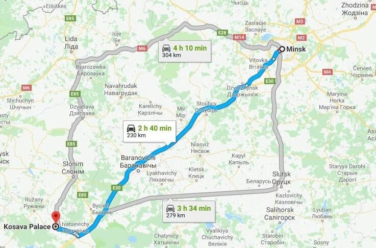 Map with a route how to get to the Kossovo Castle in Belarus from Minsk