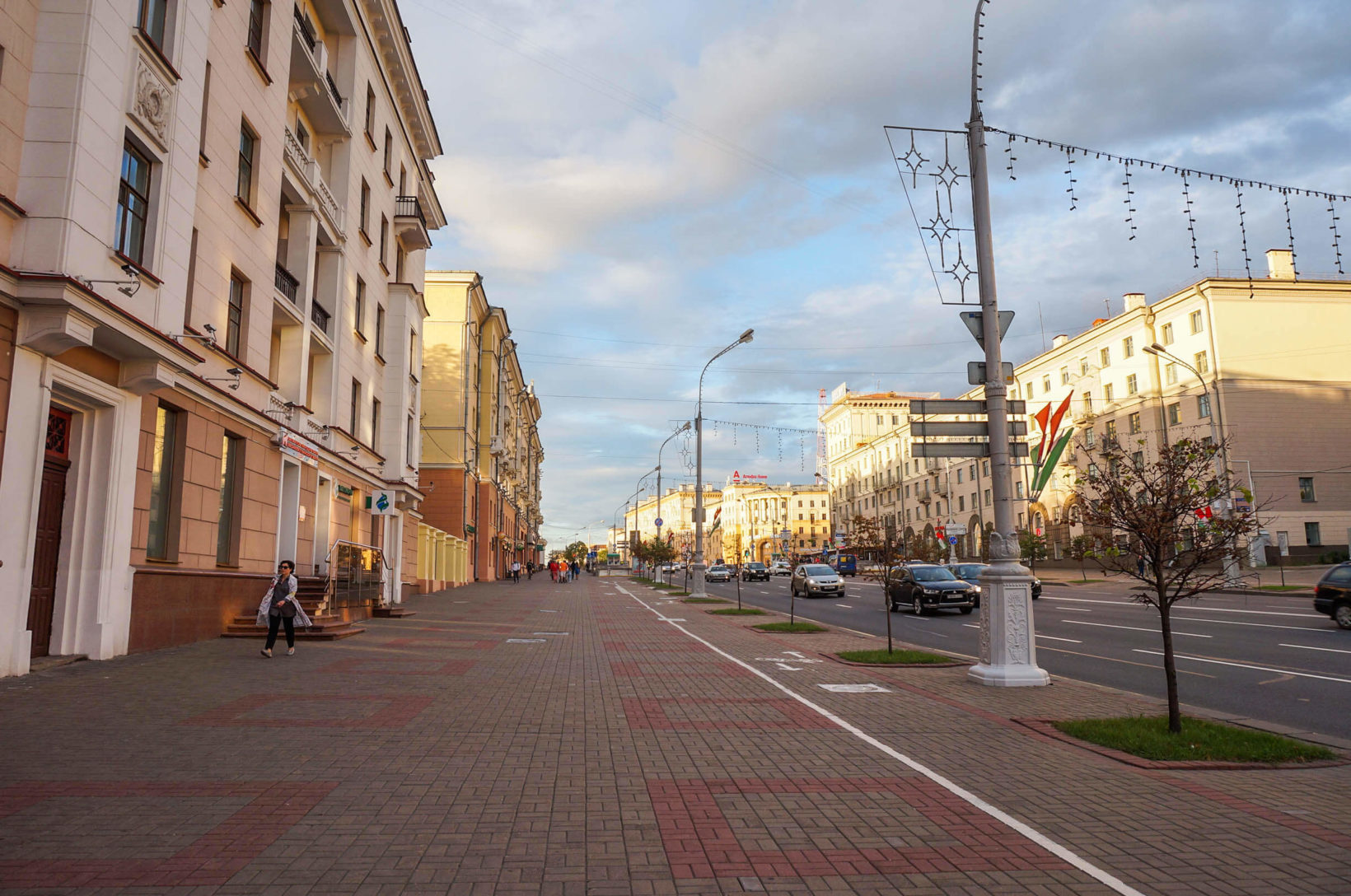 Clean independence avenue in Minsk, opinions about Belarus