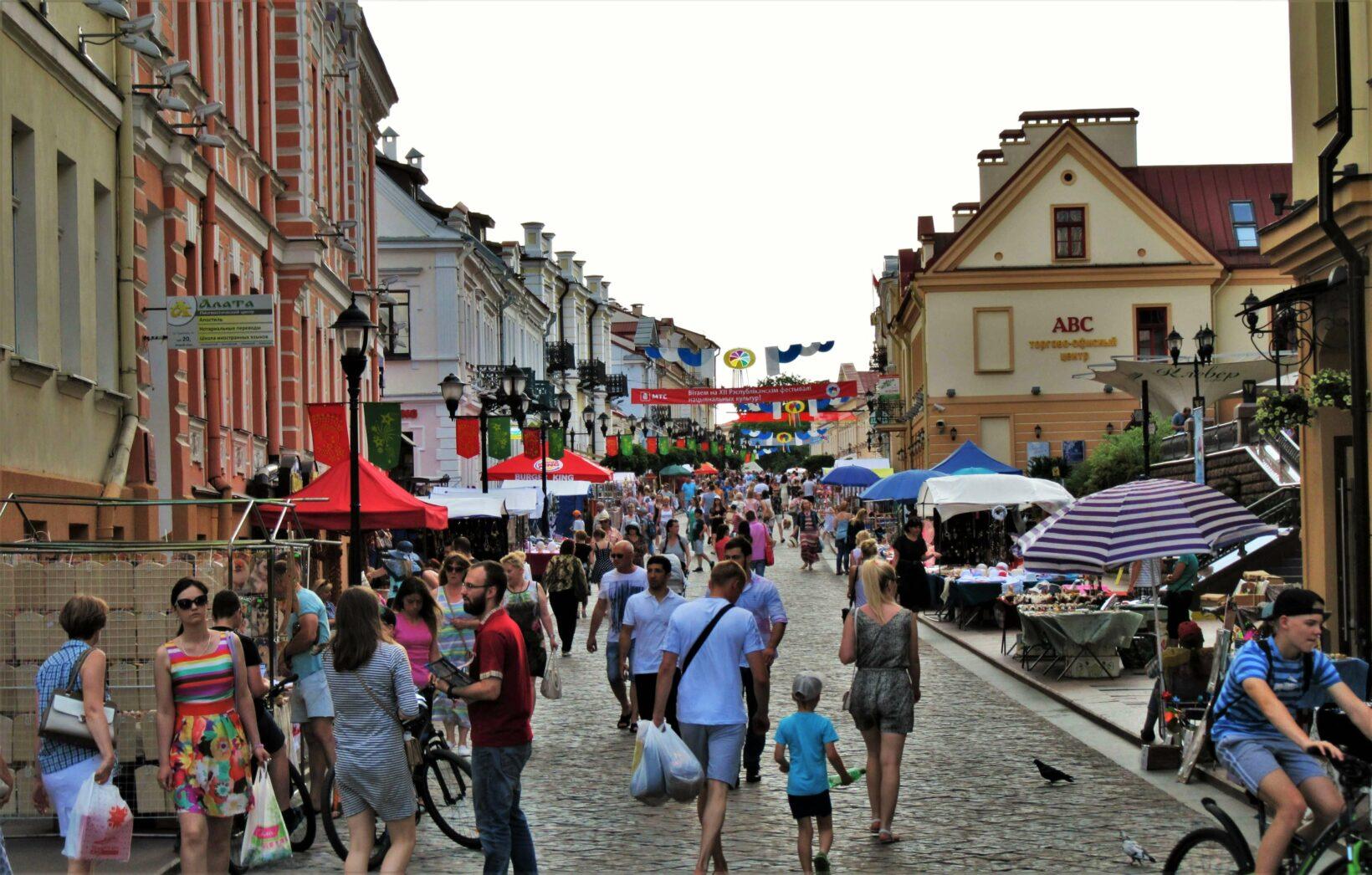Оживленная Советская улица в Гродно