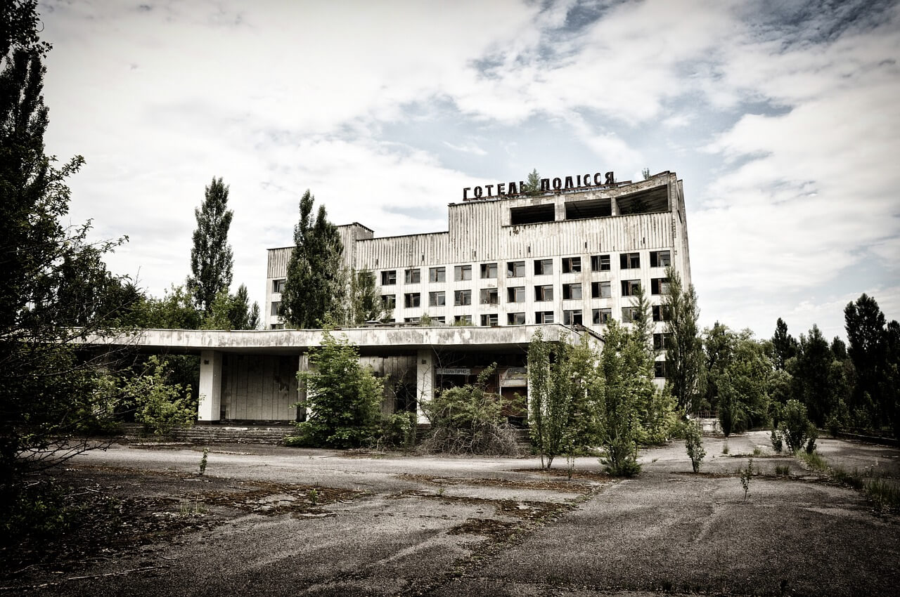 Polesie hotel in Pripyat after Chernobyl disaster