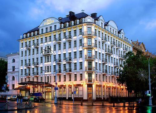 Hotel Europe in Minsk in the evening