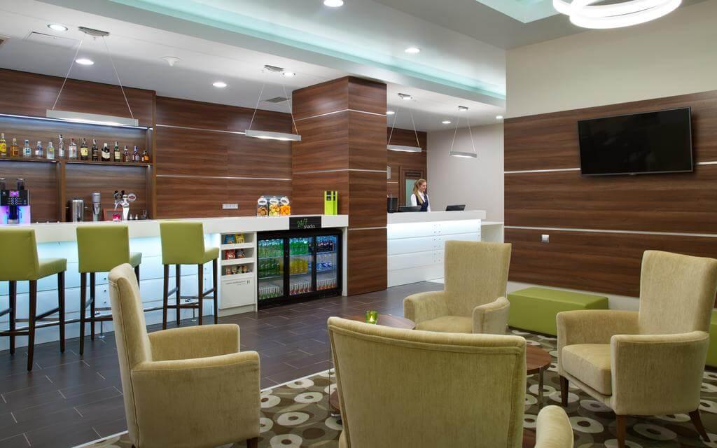 Hotel Hampton by Hilton, modern interior of a hotel in Minsk