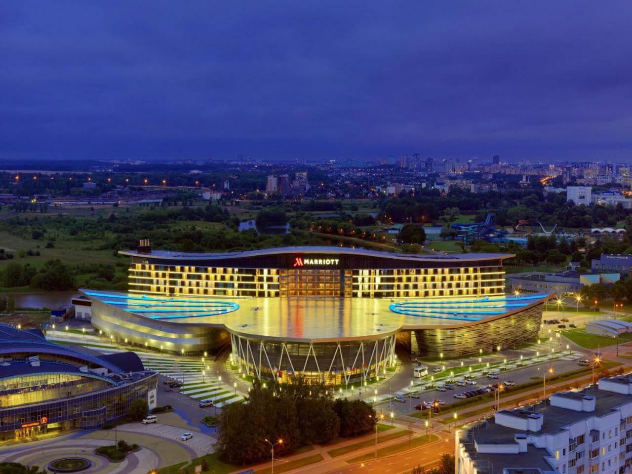 Marriott hotel in Minsk city center night view Belarus