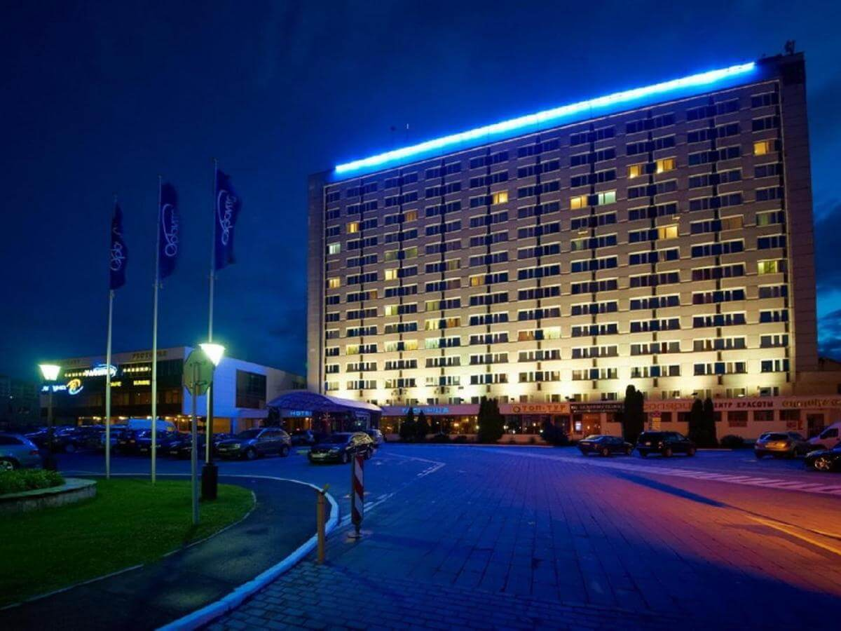 Orbita hotel in Minsk outside in the evening