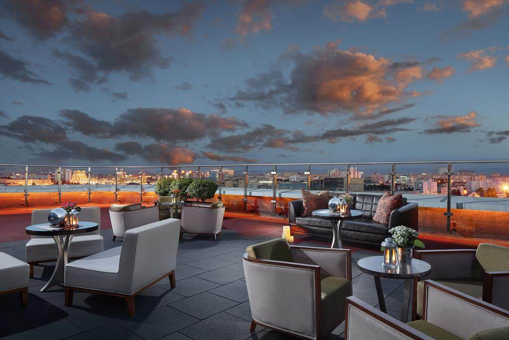 Panoramic view from Renaissance roof top restaurant and bar in Minsk