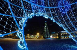 October square in winter, Minsk