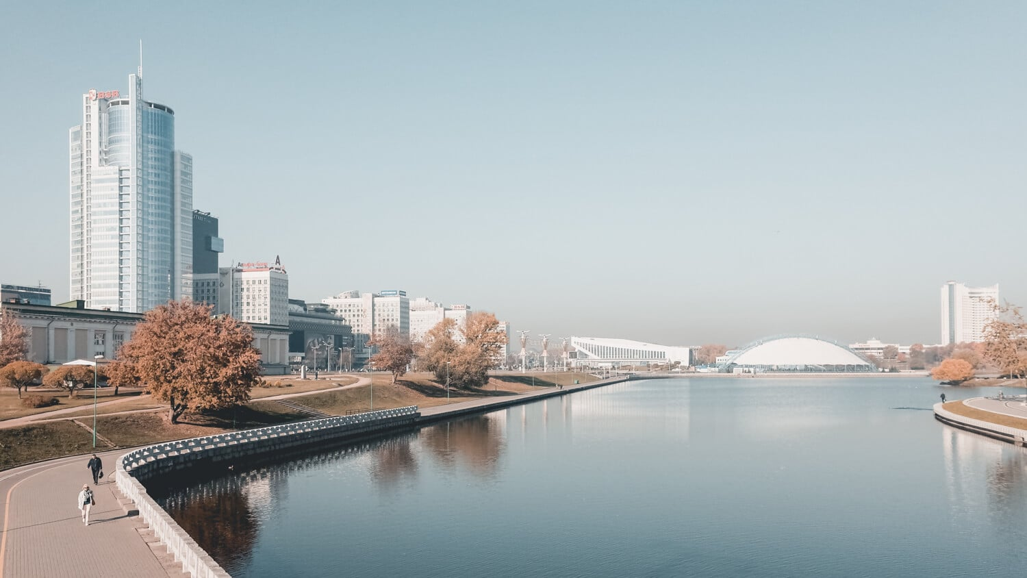 Foggy panorama of Minsk, trip to Belarus