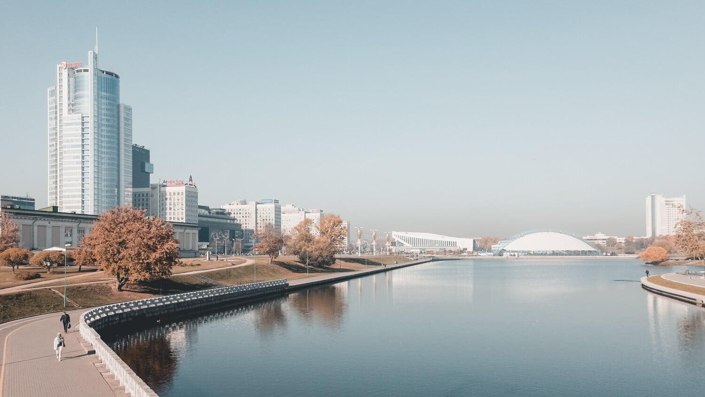 туманная панорама Минска, прогулки по Минску