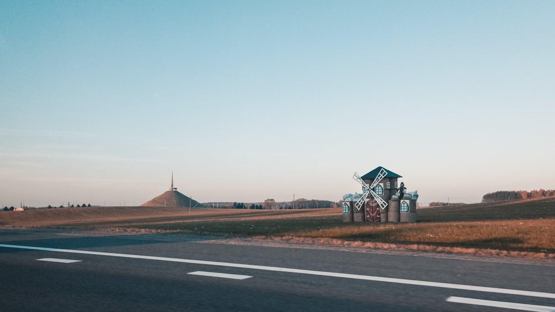 дорога от аэропорта в Минск