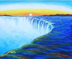 Waterfall landscape (art-party) in minsk