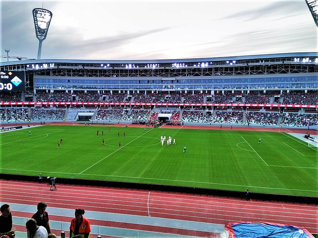 Minsk football stadium during the game