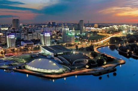 Minsk city panorama at night