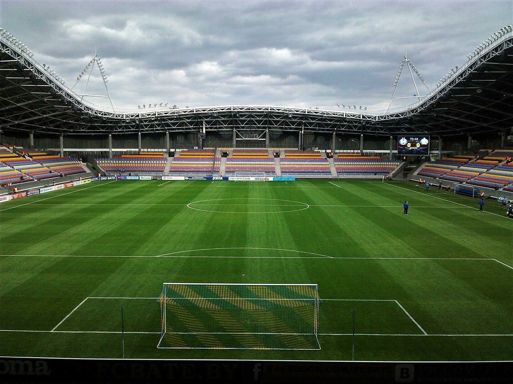 Пустой Стадион Борисов-Арена в Беларуси