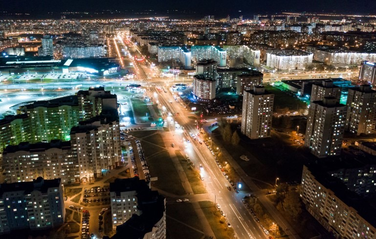 night Minsk in autumn
