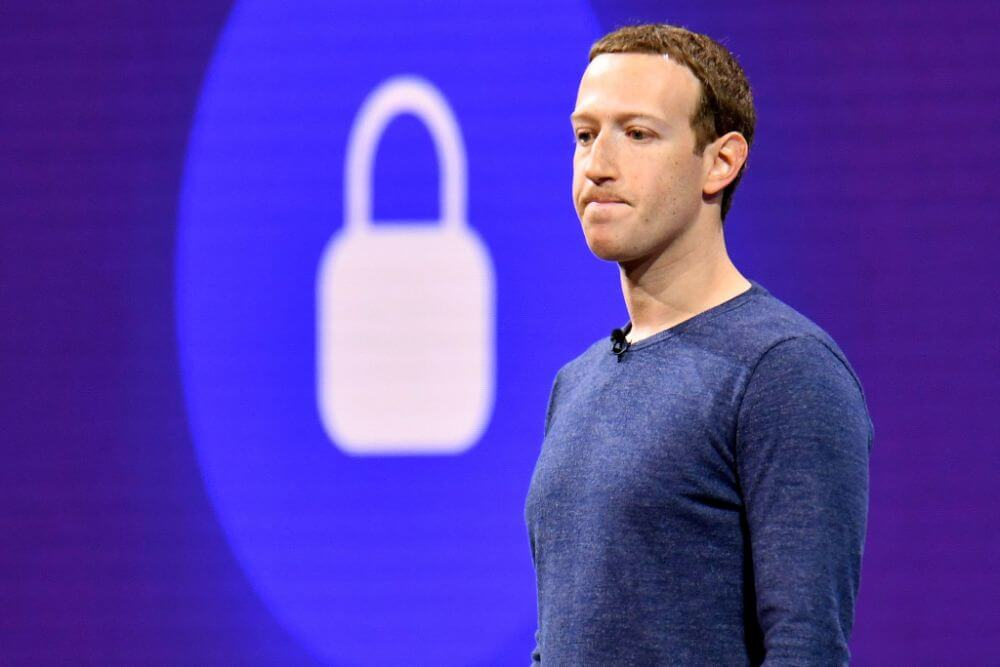 Mark Zuckerberg on a presentation after another privacy protection breach of Facebook