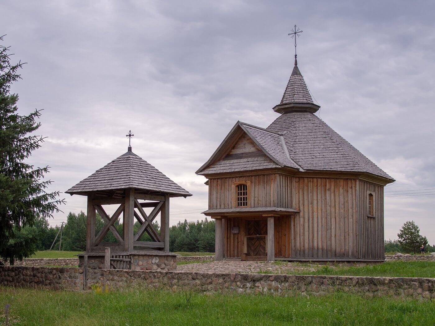 Strochitsy Rural Life outdoor museum in Belarus, wooden houses