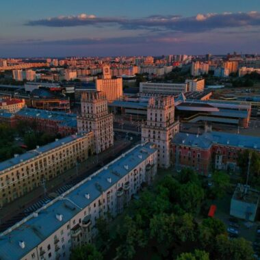 Minsk train station sunset view from above